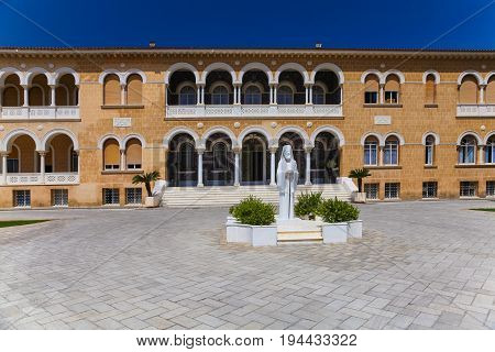 NICOSIA CYPRUS - MAY 30 2014 : View on Archbishop's Palace official residence and office of the archbishop of Cyprus.