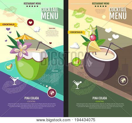 Flat style cocktail menu design. Pina colada