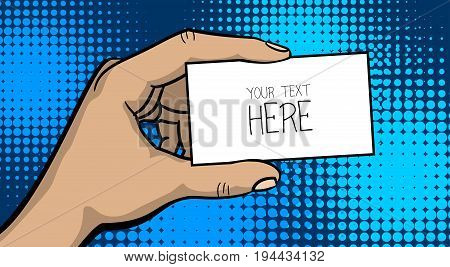 Pop art comic text cartoon strong man hand show empty speech bubble, business card. Human guy wow poster halftone dot background. Gesture advertisement arm illustration.