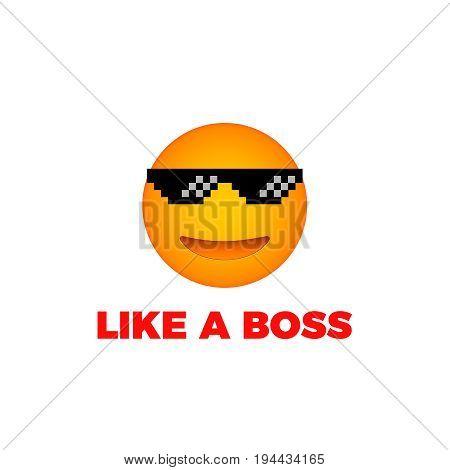 like a boss emoji smile face vector  cool  emotion joke