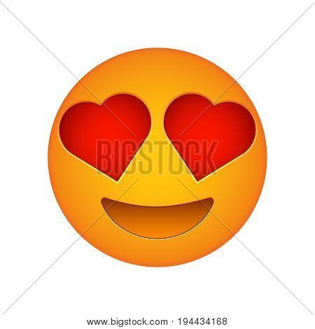 Love emoji face love emotion icon 3d smile face vector happy