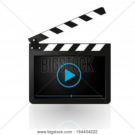 Video player on movie clapper vector  modern  play button on clap board