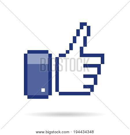 pixel  thumb up 8 bit icon   like pixel symbol  mosaic finger  rate