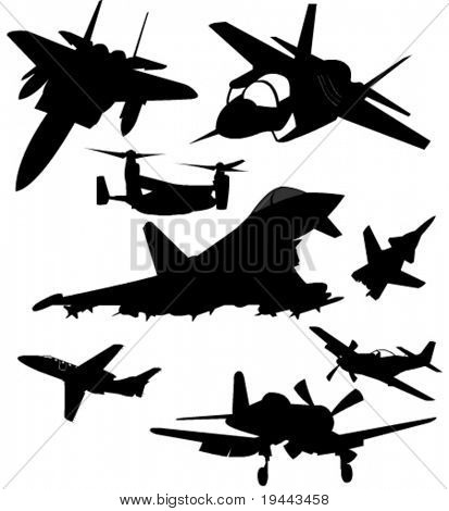 airplane fighter collection vector