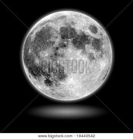 moon Model with black background and shadow