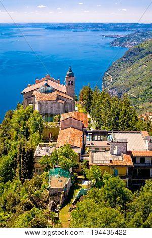 Madonna Di Montecastello Hermitage Above Lago Di Garda Vertical View