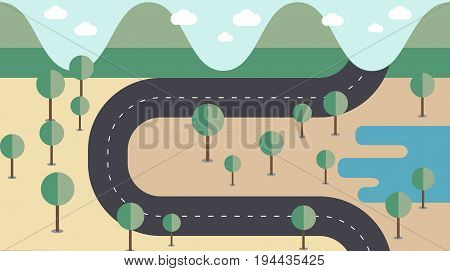 Map road cross the mountainsforest and lake in flat style