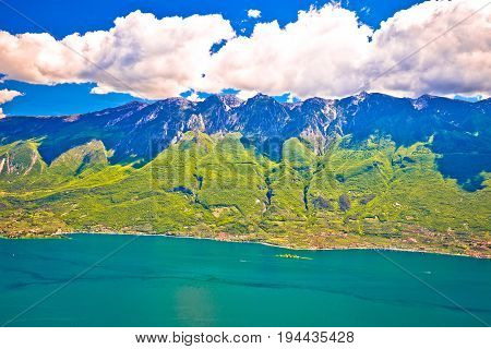 Monte Baldo Mountain Above Malcesine And Lago Di Garda Panoramic View