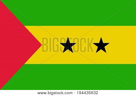 Sao Tome and Principe flag. National current flag, government and geography emblem. Flat style vector illustration
