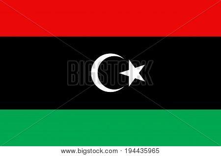 Libya flag. National current flag, government and geography emblem. Flat style vector illustration