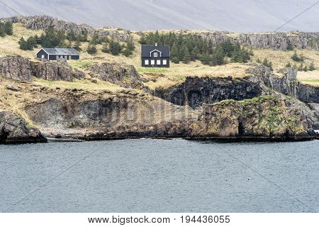 Teigarhorn Nature Reserve Berufjörður East Iceland. The old farmhouse sits on land rich of zeolite stone