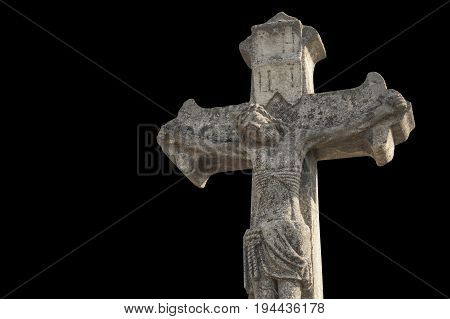 crucifixion of Jesus Christ as a symbol of resurrection and immortality of the human soul (ancient stone statue)
