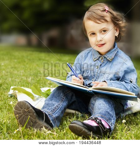 Little business child girl writes in notebook and planning her workday. Humorous picture. Time management business job offer analytics research concept.