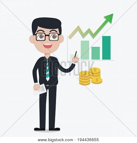 Professional Investor advise investment by use green growth graph and bar graph and he hold the paper and pencil with coins elements in white background