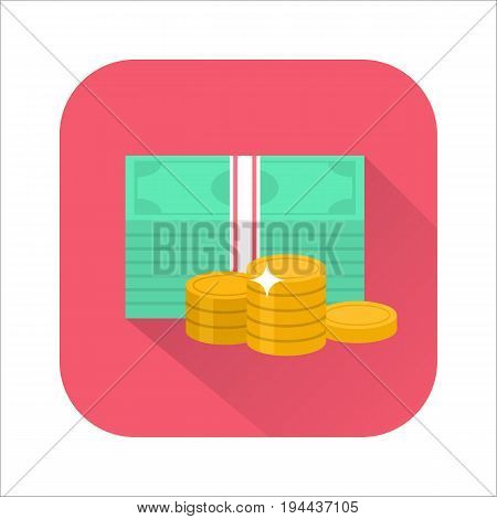 Flat money icon. Bundle of banknote money and coins. Icon with long shadow in cartoon style. Web and mobile design element. Cash, currency and dollar symbol. Vector colored illustration.