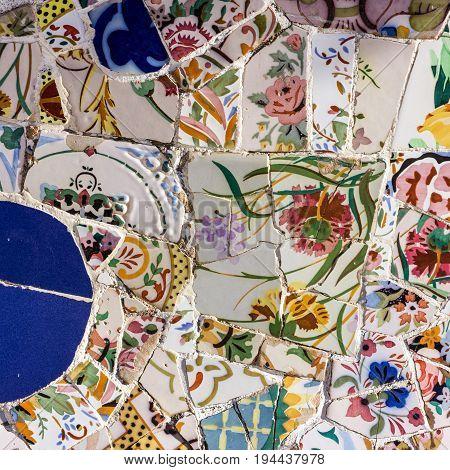 mosaic tile decoration broken glass Park Guell, Barcelona, Spain. Designed by Gaudi
