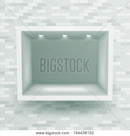 Empty Niche Vector. Realistic Brick Wall. Clean Shelf, Niche, Wall Showcase. Good For Presentations, Display Your Product. Illuminated Light Lamp