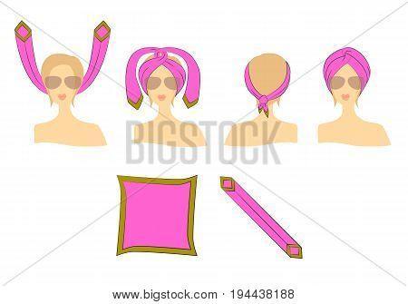 Walkthrough: how to make a turban of neckerchief on a white background