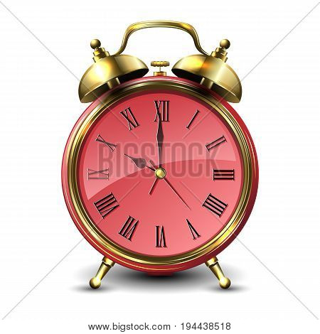 Red retro style alarm clock isolated on white background. Vector illustration.
