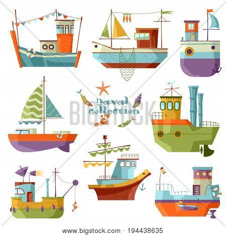 Naval collection. Set of 8 multi-colored ships. Vector illustration
