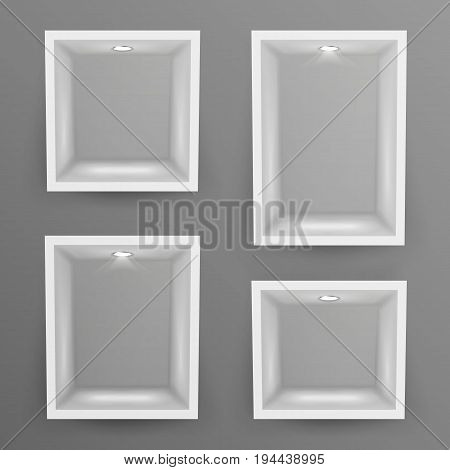Empty Show Window, Niche Vector. Abstract Clean Shelf, Niche, Wall Showcase. Good For Exhibit, Presentations, Display Your Product.