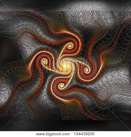 3D rendering of plastic background with embossed brown spiral fractal on leather