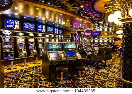 CRUISE LINER SPLENDIDA - JAN 7, 2017: Gaming slot machines in gambling casino Cruise liner Splendida MSC
