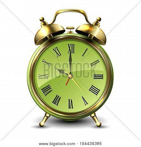 Green retro style alarm clock isolated on white background. Vector illustration.