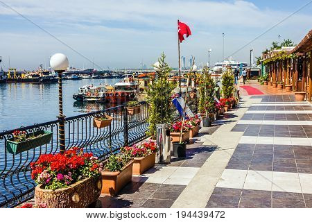 ISTANBUL, TURKEY - June 4, 2017: Sea front of Marmara sea.