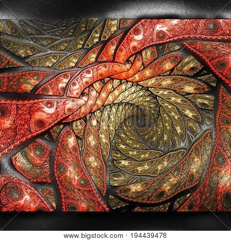 3D rendering of plastic background with embossed dotted spiral fractal on leather