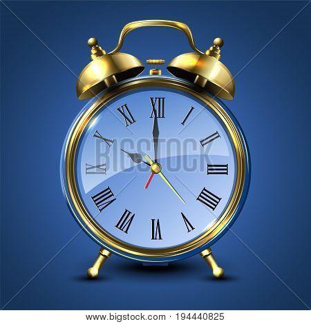 Metal retro style alarm clock isolated on blue background. Vector illustration.