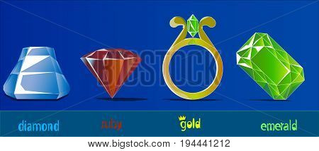 An image consisting of four precious stones and a gold ring. In a row there are diamonds, rubies, a ring with an emerald and a separate emerald stone.