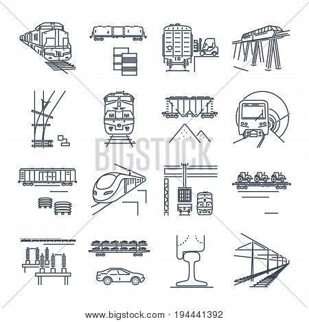 set of thin line icons freight and passenger rail transport railway train terminal locomotive