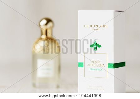 Moscow Russia, Juy 6, 2017: Package And Bottle Of Eau De Toilette Guerlain Aqua Allegoria Herba Fres