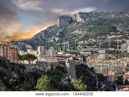 Monaco Palace in Monaco and Monte Carlo principality.
