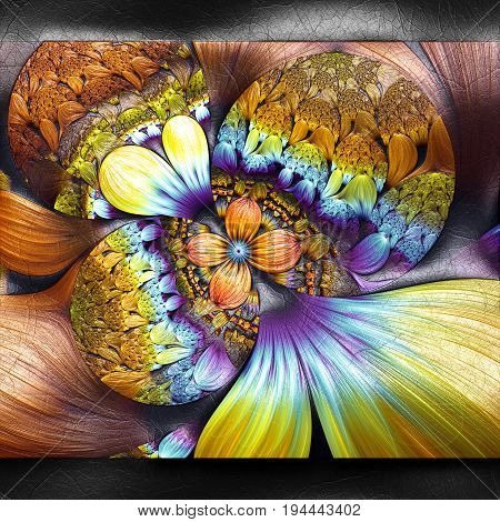 3D rendering of plastic background with embossed bubble flowers fractal on leather