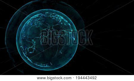 Global network connection concept.Internet concept global.Close up earth sphere with grid line.