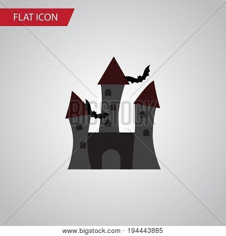 Isolated Castle Flat Icon. Fortress Vector Element Can Be Used For Fortress, Castle, Halloween Design Concept.