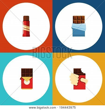 Flat Icon Chocolate Set Of Shaped Box, Sweet, Chocolate Bar And Other Vector Objects. Also Includes Bitter, Confection, Chocolate Elements.