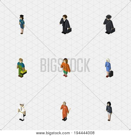 Isometric People Set Of Seaman, Detective, Hostess And Other Vector Objects. Also Includes Investor, Detective, Woman Elements.