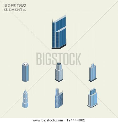 Isometric Construction Set Of Residential, Skyscraper, Urban And Other Vector Objects. Also Includes Cityscape, Skyscraper, Building Elements.