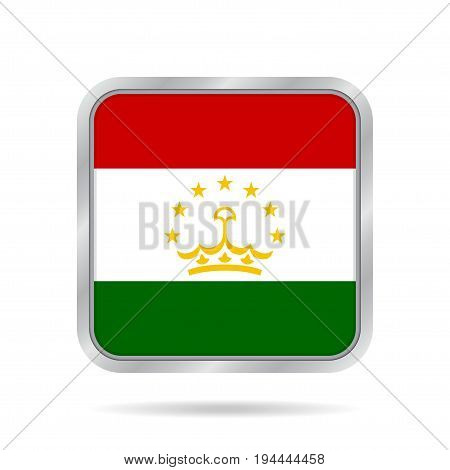 National flag of Tajikistan. Shiny metallic gray square button with shadow.