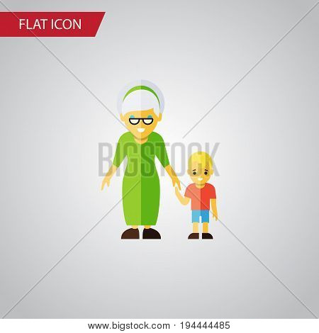 Isolated Grandson Flat Icon. Grandma Vector Element Can Be Used For Grandma, Family, Grandson Design Concept.