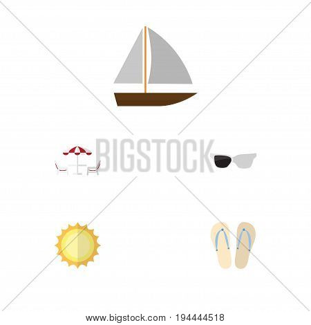 Flat Icon Summer Set Of Sunshine, Recliner, Spectacles And Other Vector Objects. Also Includes Sun, Spectacles, Sunrise Elements.
