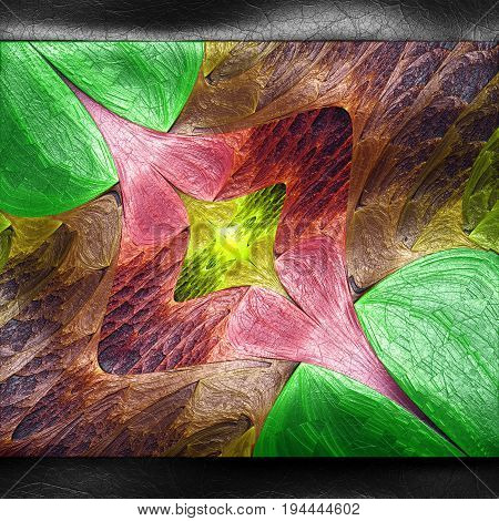 3D rendering of plastic background with embossed abstract fractal on leather