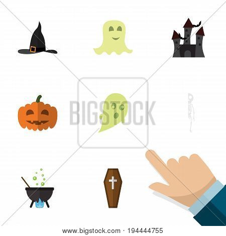 Flat Icon Celebrate Set Of Skeleton, Magic, Gourd And Other Vector Objects. Also Includes Wizard, Cranium, Casket Elements.