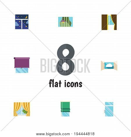 Flat Icon Frame Set Of Glazing, Glass, Clean And Other Vector Objects. Also Includes Window, Glass, Balcony Elements.