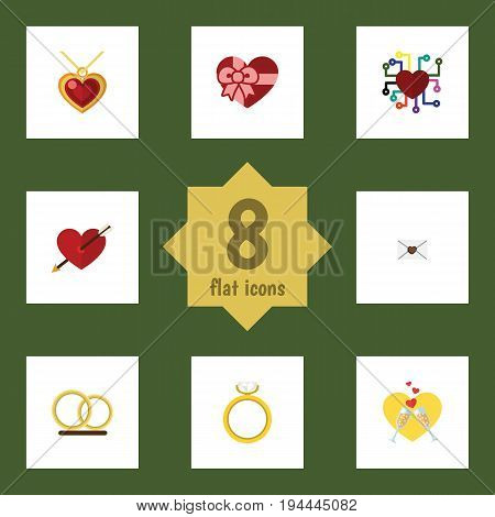 Flat Icon Passion Set Of Emotion, Necklace, Ring And Other Vector Objects. Also Includes Engagement, Wineglasses, Love Elements.