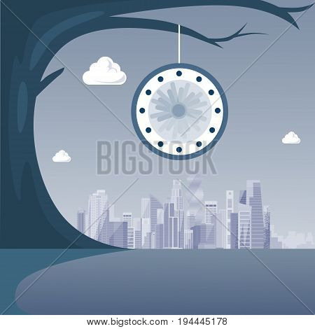 Clock Hanging On Tree Over Modern City View Time Concept Flat Vector Illustration