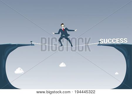 Businessman Walk Over Cliff Gap Mountain To Success Business Man Balancing On Rope Flat Vector Illustration